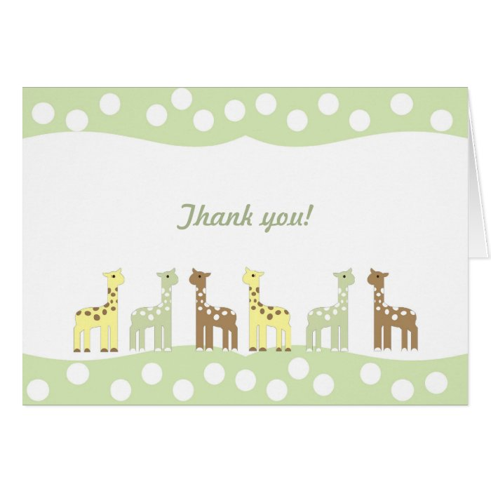 Giraffe Friends Baby Shower Thank You Note Neutral Card