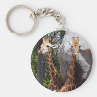 Giraffe Friends Basic Round Button Keychain
