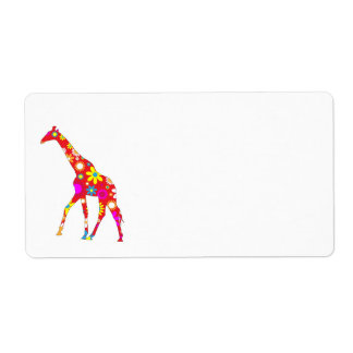 Giraffe Funky floral flowery fun address labels