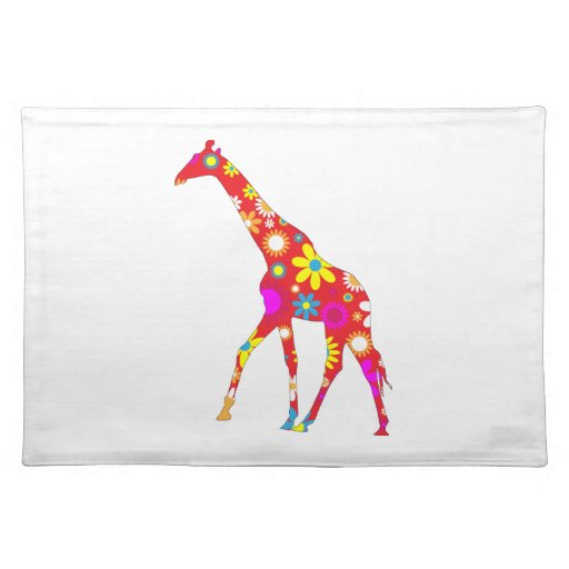 Giraffe funky retro floral flowers fun placemat