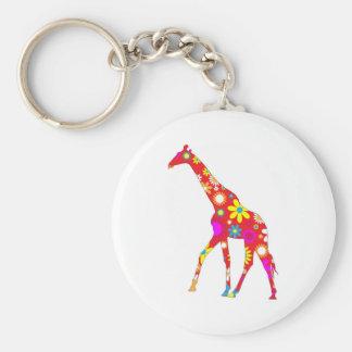 Giraffe Funky retro floral flowery flower keychain
