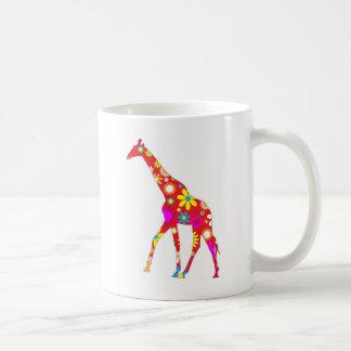 Giraffe Funky retro floral flowery flowers mug