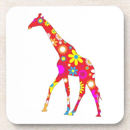 Giraffe funky retro floral flowery fun coaster