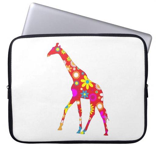 Giraffe funky retro floral flowery fun laptop bag laptop computer sleeve