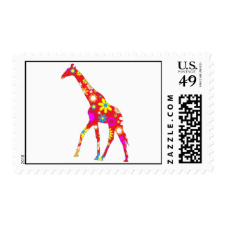 Giraffe Funky retro floral flowery postage stamp