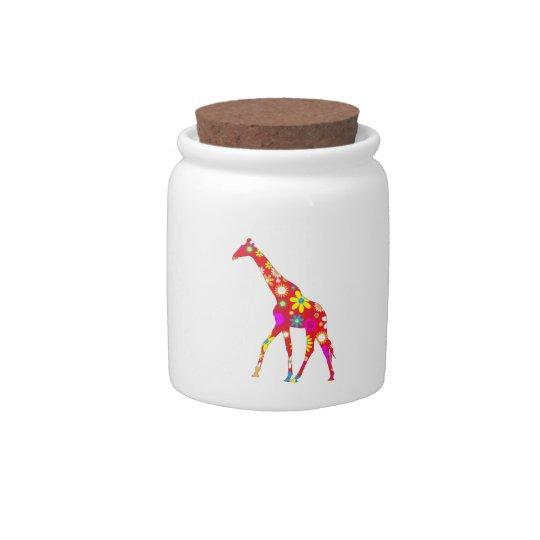 Giraffe funky retro floral fun cookie, candy jar