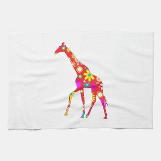 Giraffe funky retro floral fun kitchen tea towel