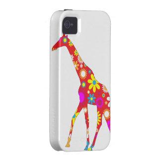 Giraffe funky retro floral iphone 4 case tough