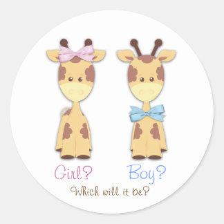 Giraffe Gender Reveal Classic Round Sticker