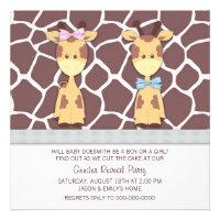 Giraffe Gender Reveal Party Invitations
