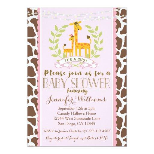 Giraffe Girl Pink Baby Shower Invitation