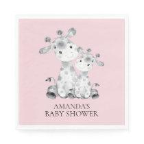 Giraffe Girls Baby Shower Paper Napkins