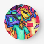 Giraffe graffiti artist round clock