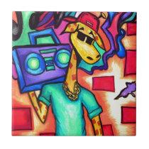 Giraffe graffiti artist tile