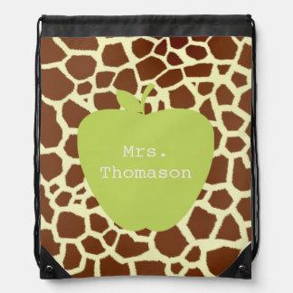 Giraffe Green Apple Teacher Drawstring Backpack