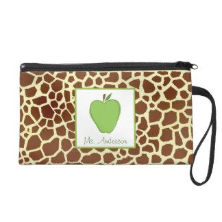 Giraffe & Green Apple Wristlet For Teachers