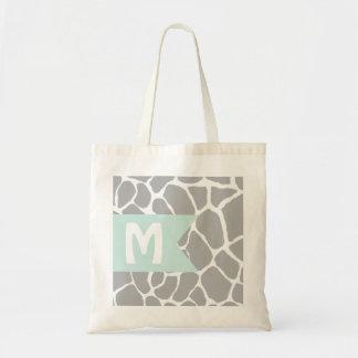 Giraffe Grey Monogram Budget Tote Bag