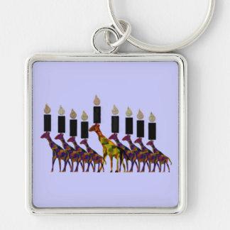 Giraffe Hannukah Menorah Silver-Colored Square Keychain