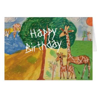 Giraffe Happy Birthday Cards