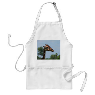 Giraffe head against blue sky photograph picture adult apron