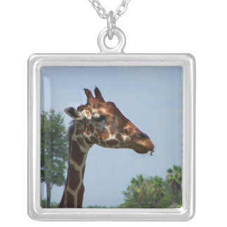 Giraffe head against blue sky photograph picture square pendant necklace