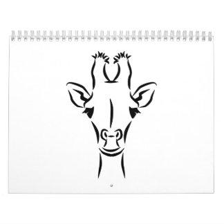 Giraffe head wall calendars