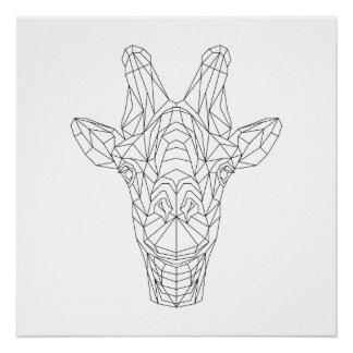 Giraffe Head Geometric Black & White Modern Art Poster