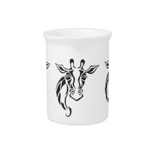 Giraffe Head Tattoo Art Pitcher