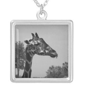 Giraffe head with plants and sky photograph square pendant necklace