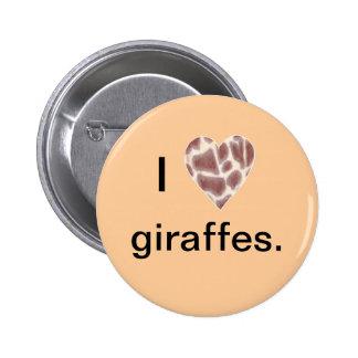 Giraffe Heart, I heart giraffes pin on buttons