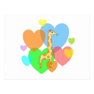 Giraffe Hearts Postcard