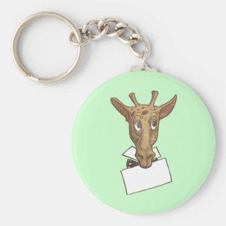 Giraffe Holding a Message Keychain
