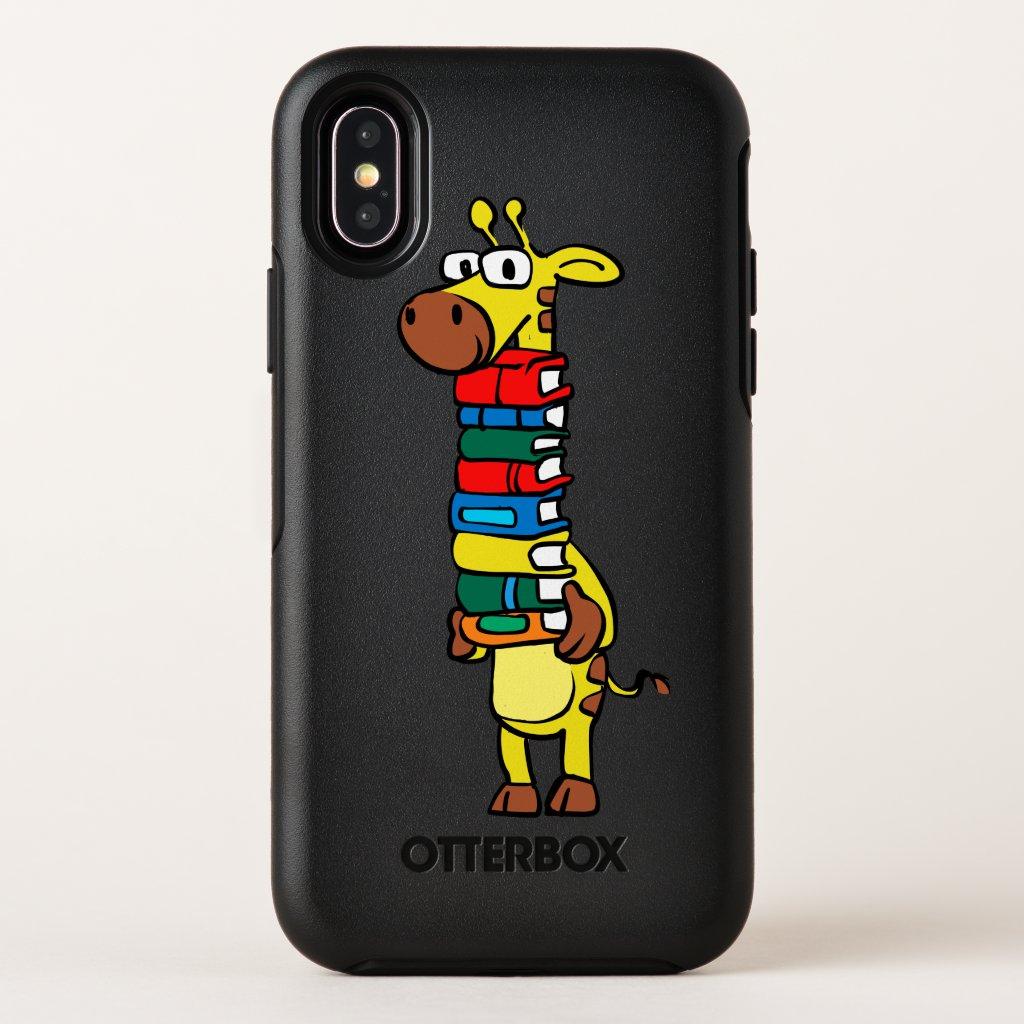Giraffe holding books OtterBox symmetry iPhone x case
