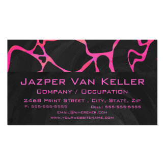 Giraffe Hot Pink and Black Print Business Card