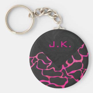 Giraffe Hot Pink and Black Print Basic Round Button Keychain