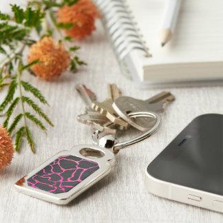 Giraffe Hot Pink and Black Print Keychain