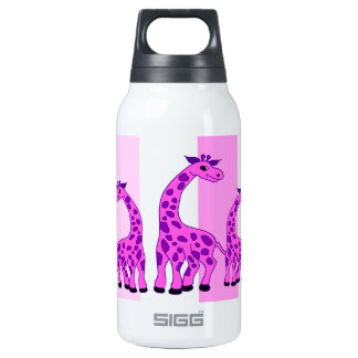 Giraffe illustration in pink color insulated water bottle