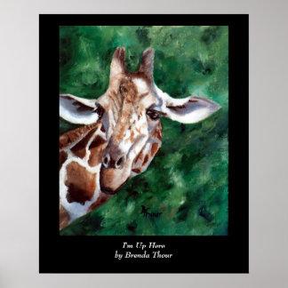 Giraffe I'm Up Here Poster
