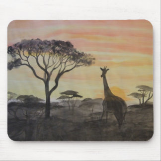 Giraffe in African Sunset Mouse Pad