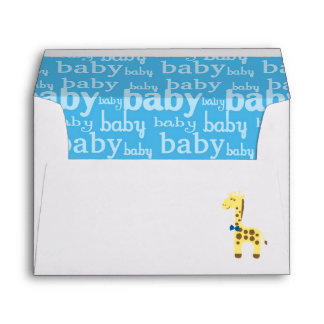 Giraffe in Blue Bow Baby Shower for Boy Envelope