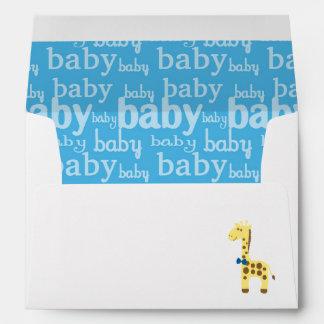 Giraffe in Blue Bow Baby Shower for Boy Envelope