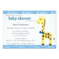 Giraffe in Blue Bow Baby Shower for Boy Invitation