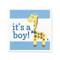 Giraffe in Blue Bow Baby Shower for Boy Napkin