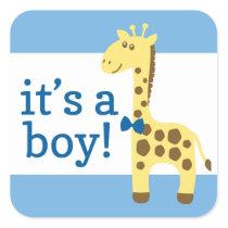 Giraffe in Blue Bow Baby Shower for Boy Square Sticker