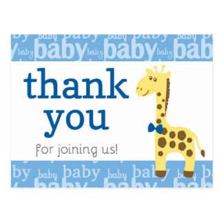 Giraffe in Blue Bow Baby Shower for Boy Thank You Postcard