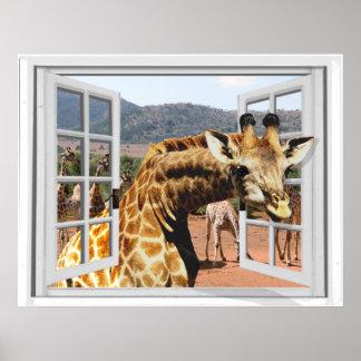Giraffe in Fake Window View Trompe l'oeil Effect Poster