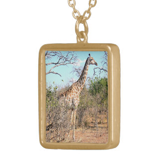 GIRAFFE IN NATURAL HABITAT (AFRICA) GOLD PLATED NECKLACE