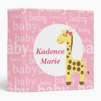 Giraffe in Pink Bow Baby Shower for Girl Binder