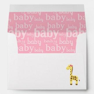 Giraffe in Pink Bow Baby Shower for Girl Envelope