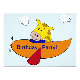 Giraffe in Plane Kids Birthday Custom Announcements